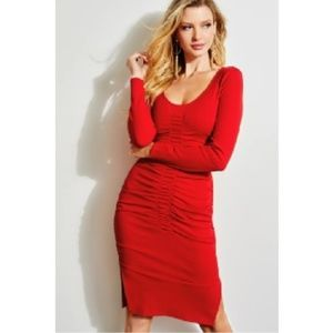 Guess Long Sleeve Red Vivica Dress